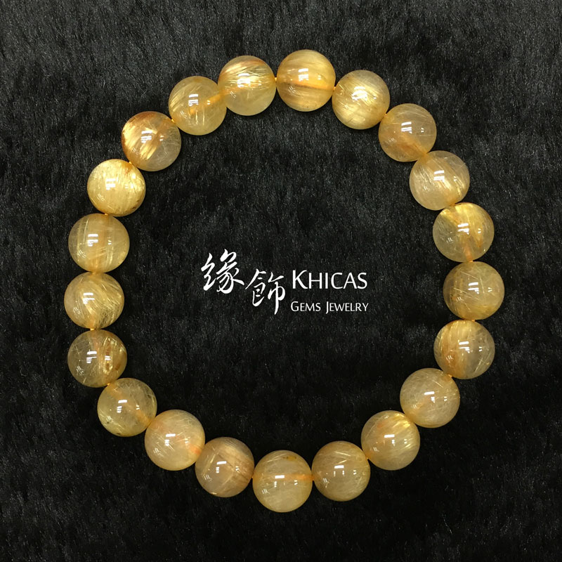 巴西 3A+ 金髮晶手串 9.8mm Gold Rutilated Quartz KH142659 @ Khicas Gems 緣飾