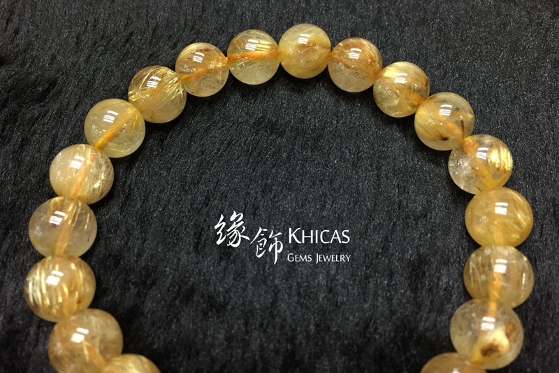 巴西 3A+ 金髮晶手串 9.2mm Gold Rutilated Quartz KH142660 @ Khicas Gems 緣飾