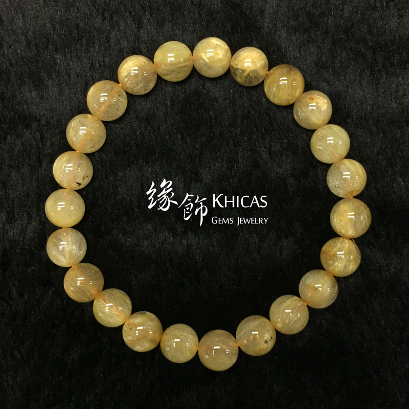 巴西 3A+ 金髮晶手串 8.2mm Gold Rutilated Quartz KH142661 @ Khicas Gems 緣飾