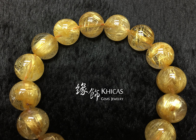 巴西 5A+ 金鈦晶手串 13.5mm Gold Rutilated KH142664 @ Khicas Gems 緣飾