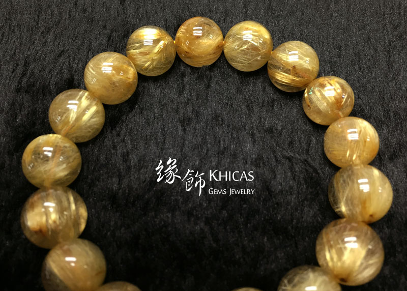 巴西 4A+ 金鈦晶手串 12.5mm Gold Rutilated KH142665 @ Khicas Gems 緣飾