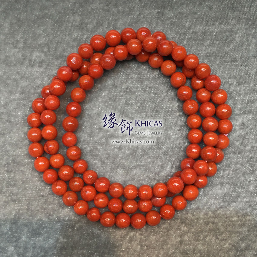 南紅瑪瑙三圈手串 5.5mm Red Agate KH142667 @ Khicas Gems 緣飾