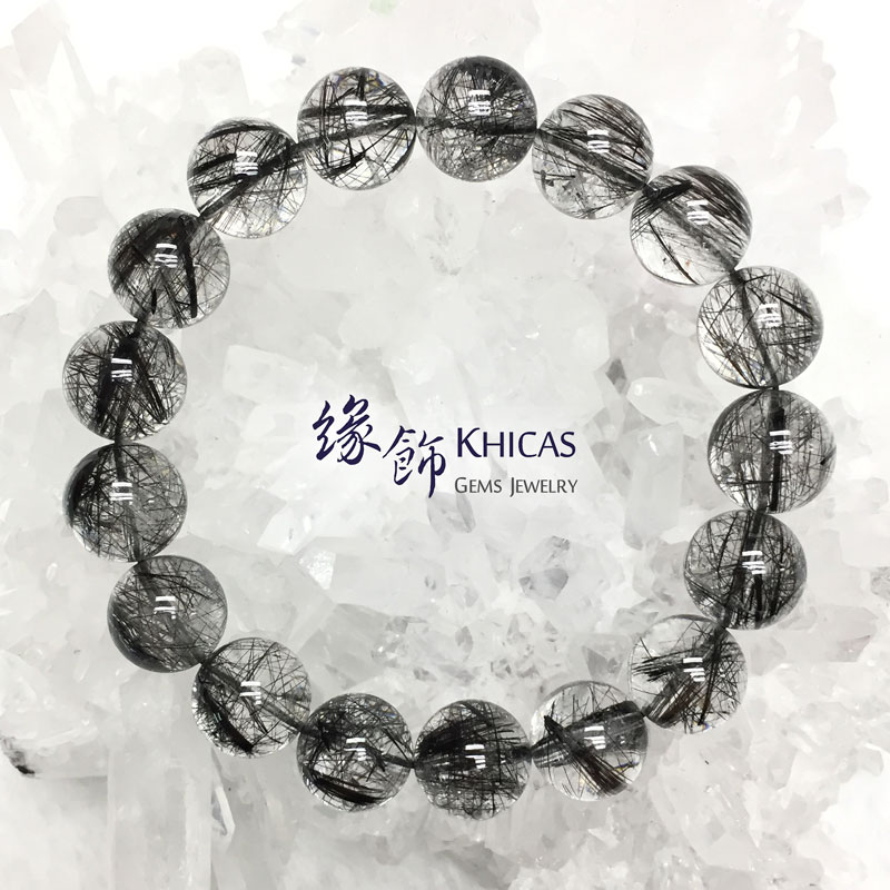 巴西 4A+ 黑髮晶手串 12.8mm Black Rutilated Quartz KH142668 @ Khicas Gems 緣飾