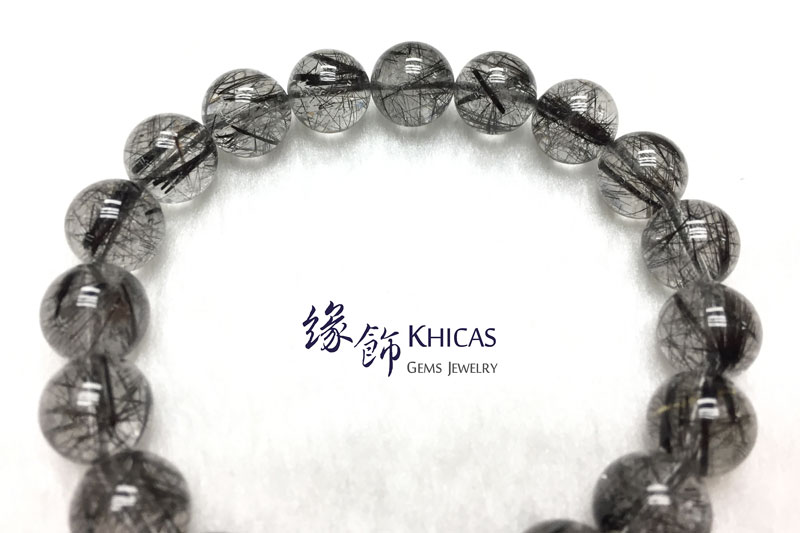 巴西 4A+ 黑髮晶手串 10mm Black Rutilated Quartz KH142669 @ Khicas Gems 緣飾