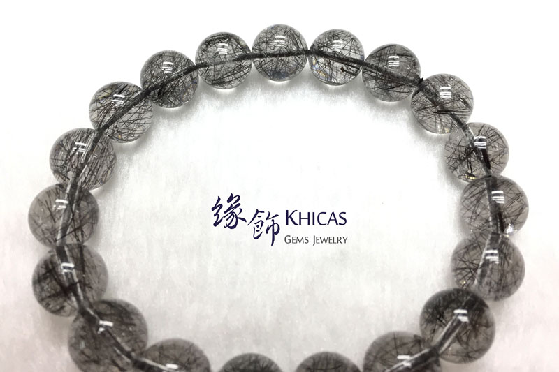 巴西 4A+ 黑髮晶手串 10.5mm Black Rutilated Quartz KH142670 @ Khicas Gems 緣飾