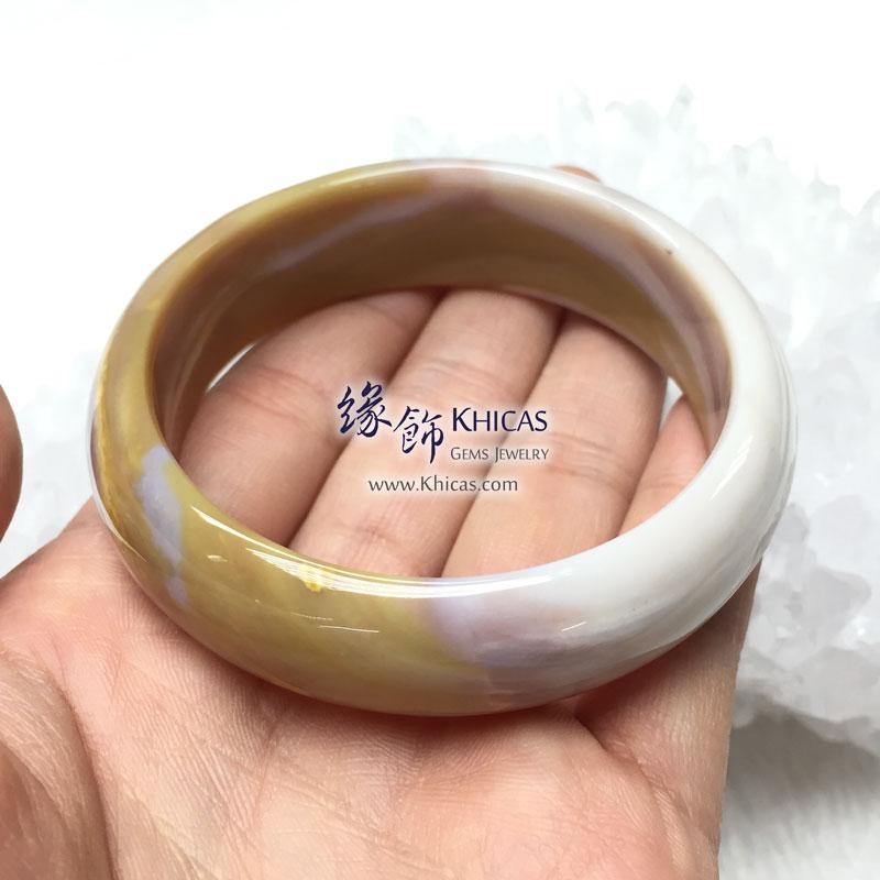 緬甸 4A+ 木化玉 / 玉化木化石闊手鐲 KH142689 @ Khicas Gems 緣飾天然水晶