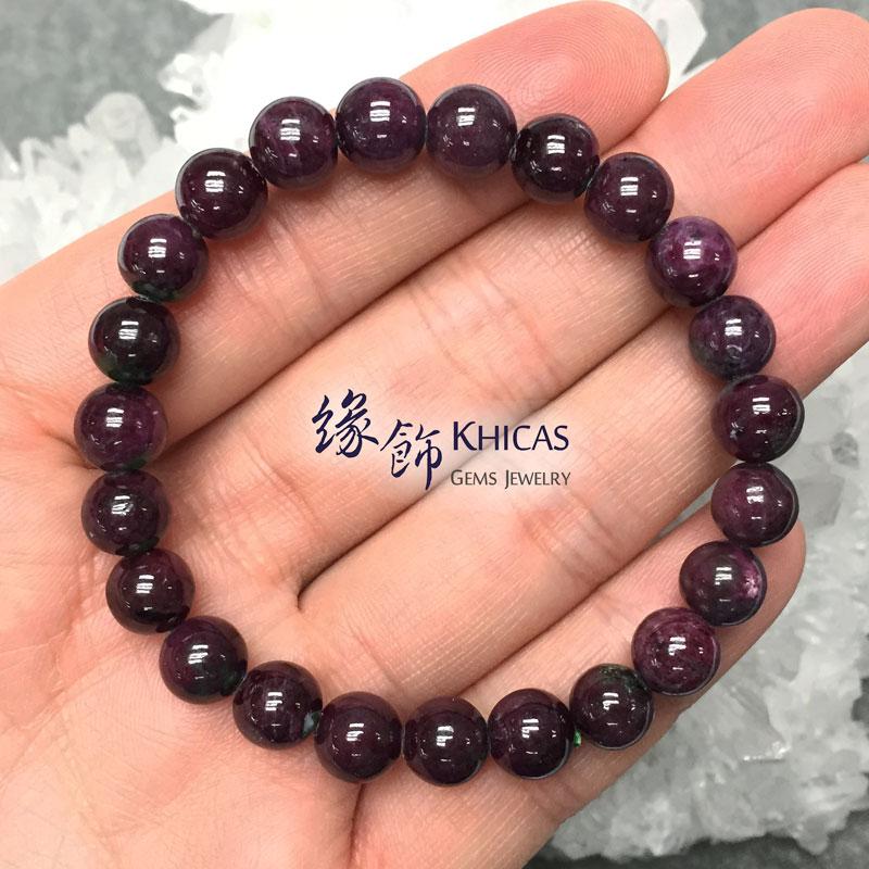 緬甸 4A+ 紅綠寶石手串 8.4mm Anyolite Ruby Zoisite KH142703 @ Khicas Gems 緣飾