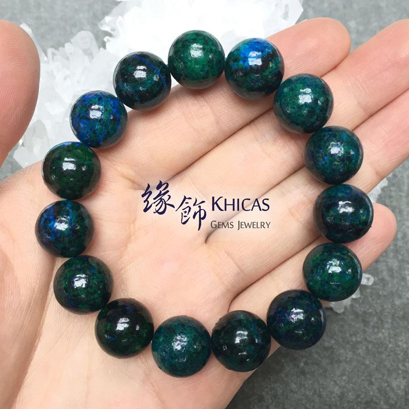 巴西鳳凰石(矽孔雀石)圓珠手串 14mm Chrysocolla KH142751 @ Khicas Gems 緣飾
