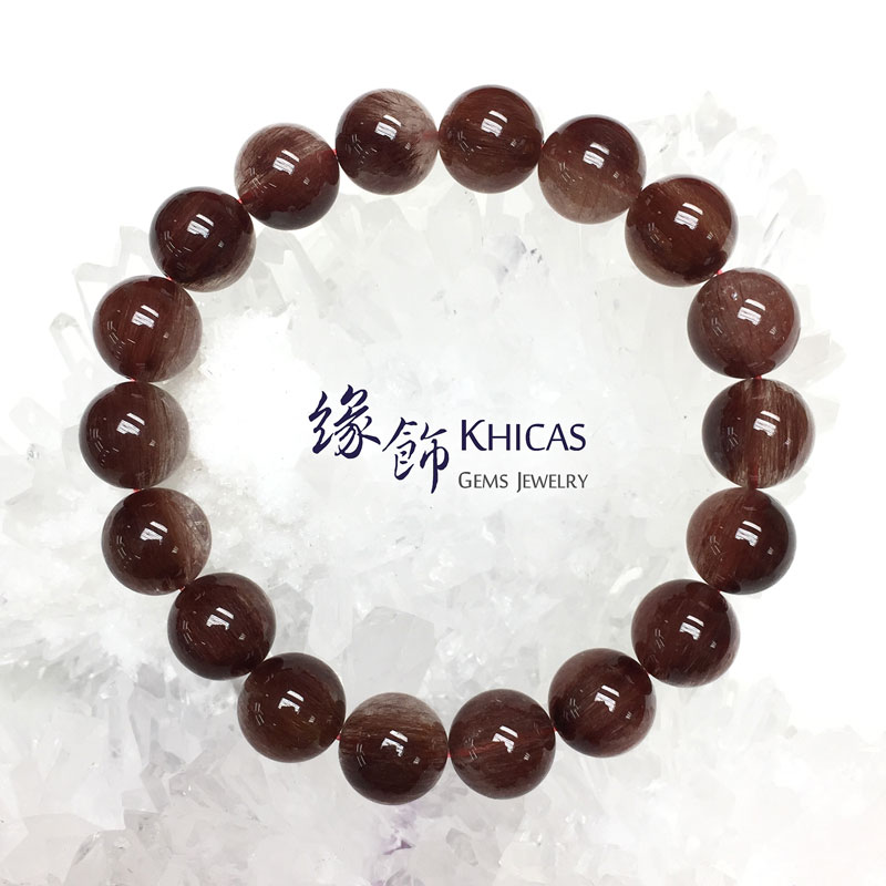 巴西 3A+ 紅髮晶手串 11mm Red Rutilated Quartz KH142760 @ Khicas Gems 緣飾