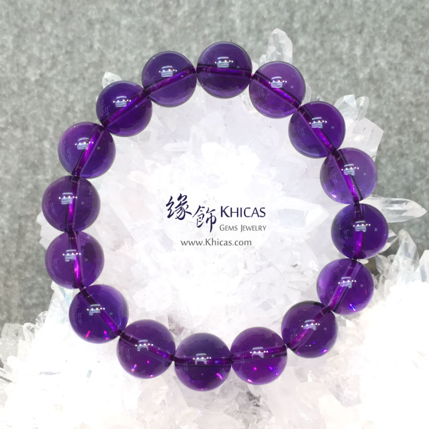 烏拉圭 5A+ 全清紫水晶手串 12mm Amethyst KH142786 @ Khicas Gems 緣飾