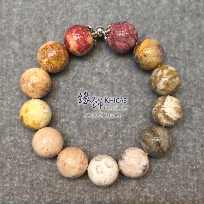 印尼 4A+ 珊瑚玉化石 14mm+/- 手串配銀飾 Coral Jade Bracelet KH142823 @ Khicas Gems 緣飾