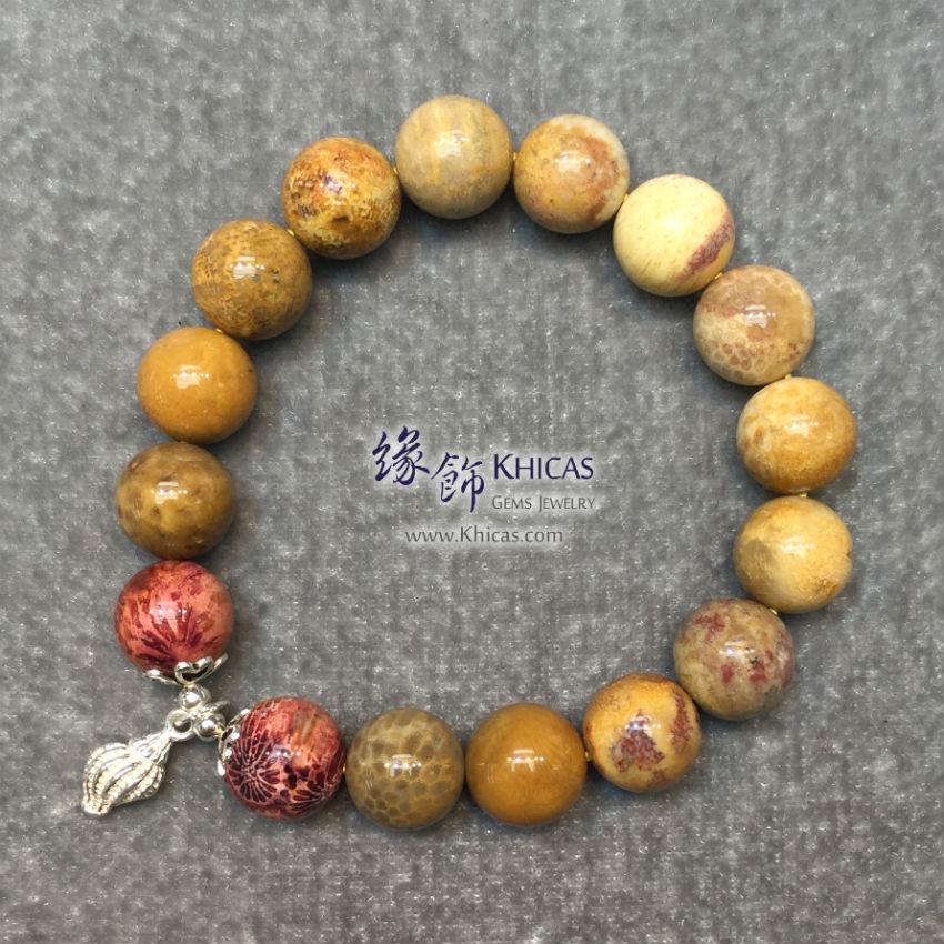 印尼 4A+ 珊瑚玉化石 12mm+/- 手串配銀海螺 Coral Jade Bracelet KH142825 @ Khicas Gems 緣飾