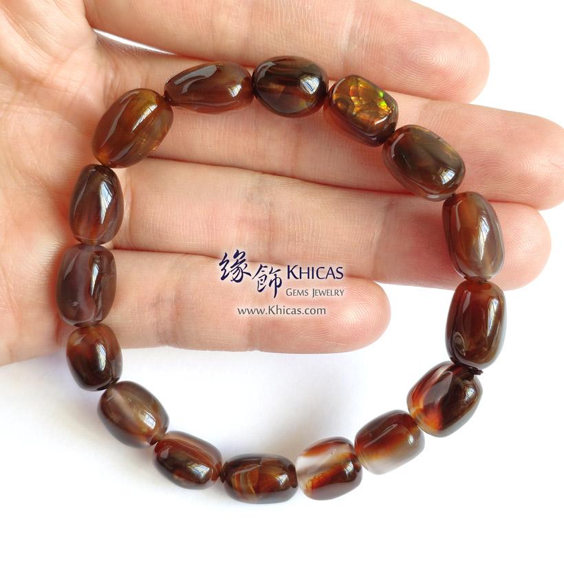 墨西哥 5A+ 火瑪瑙不定形手串 ~9.5mm Fire Agate Bracelet KH142852 @ Khicas Gems Jewelry 緣飾天然水晶