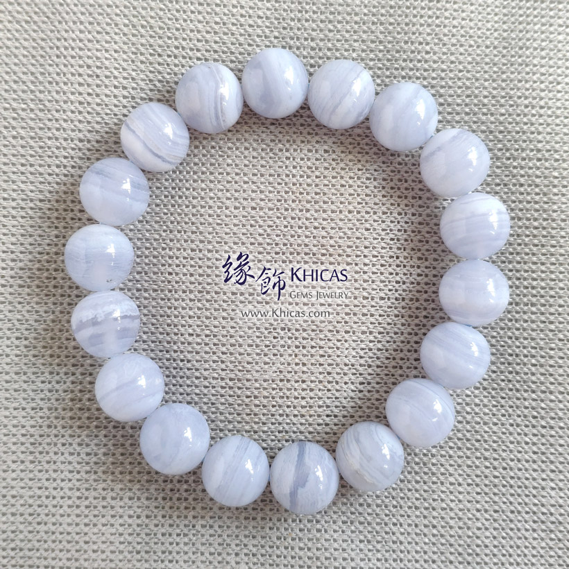 巴西 4A+ 藍紋瑪瑙手串 10mm Blue Lace Agate Bracelet KH142862-1 @ Khicas Gems Jewelry 緣飾天然水晶