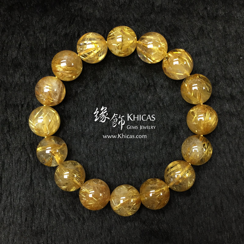 巴西 5A+ 金鈦晶手串 13.5mm Gold Rutilated KH142947 @ Khicas Gems 緣飾