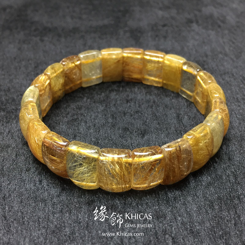巴西 4A+ 金髮晶手排 14x9x6mm Golden Rutilated Quartz KH142951 @ Khicas Gems 緣飾天然水晶