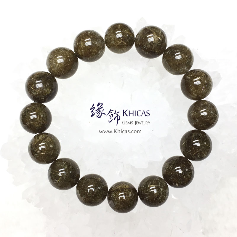 巴西 4A+ 銀鈦髮晶手串 13.5mm Stibnite Rutilated Quartz KH142958 Khicas Gems 緣飾