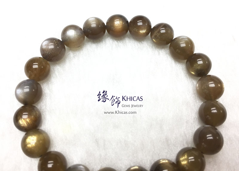 巴西 4A+ 金銀雙眼黑太陽石手串 9mm Black SunStone KH142968 @ Khicas Gems 緣飾