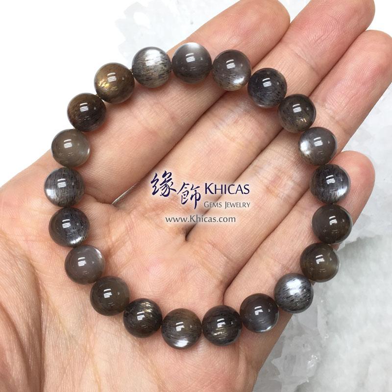 巴西 4A+ 金銀雙眼黑太陽石手串 9.2mm Black SunStone KH142969 @ Khicas Gems 緣飾