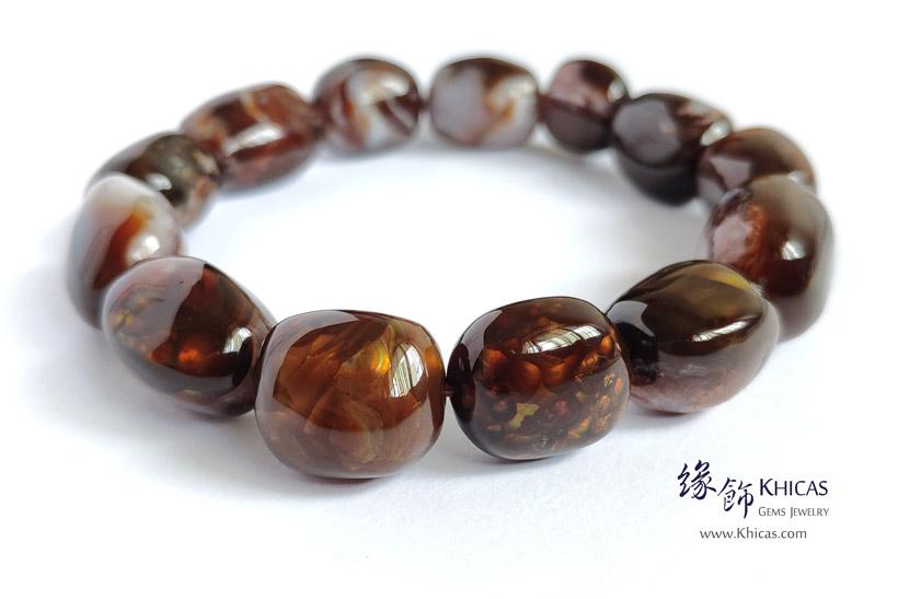 墨西哥 5A+ 火瑪瑙不定形手串 ~13-14mm Fire Agate Bracelet KH143021 @ Khicas Gems Jewelry 緣飾天然水晶