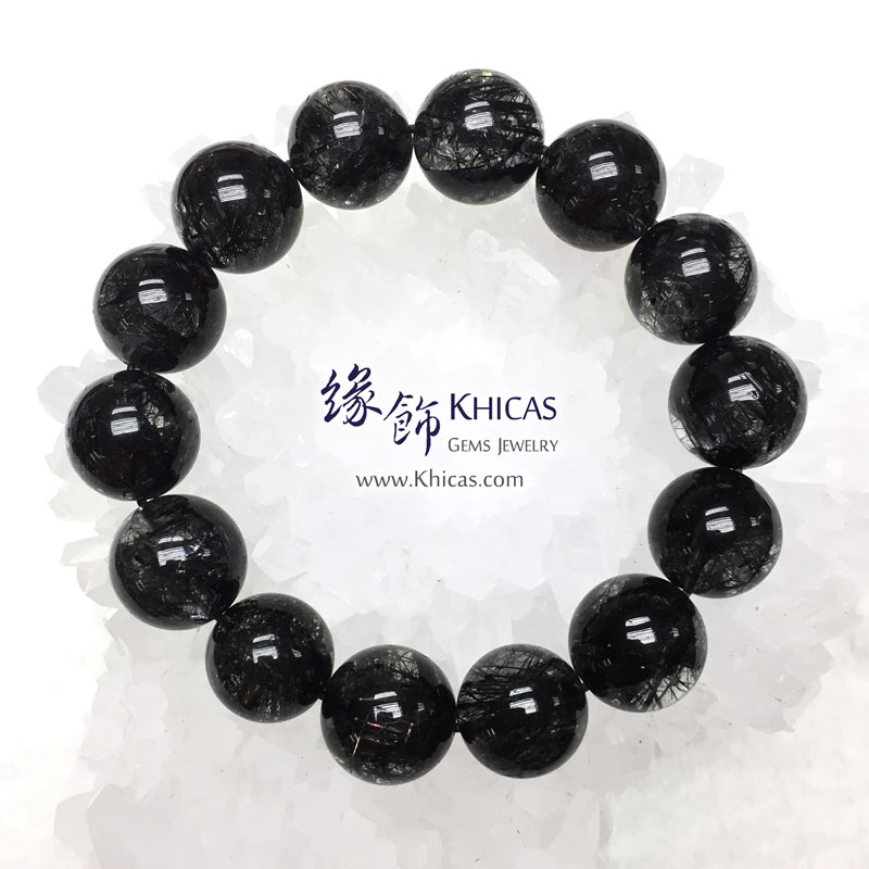 巴西 5A+ 黑髮晶手串 16.5mm Black Rutilated Quartz KH143027 @ Khicas Gems 緣飾