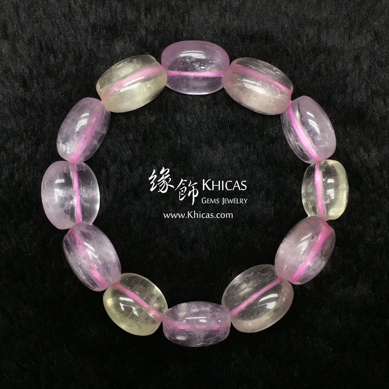 巴西 3A+ 紫鋰輝蘋果形手串 ~16mm Kunzite KH143039 Khicas Gems 緣飾