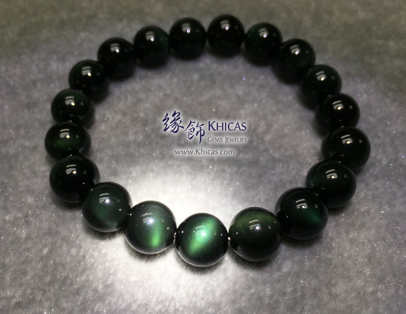 墨西哥 5A+ 綠黑曜石手串 10mm KH143222 @ Khicas Gems 緣飾天然水晶