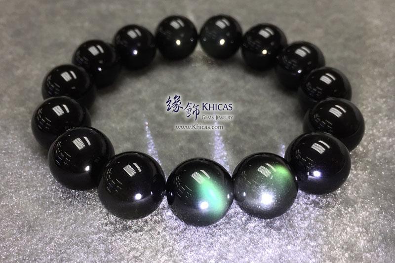 墨西哥 5A+ 綠黑曜石手串 14mm KH143224 @ Khicas Gems 緣飾天然水晶