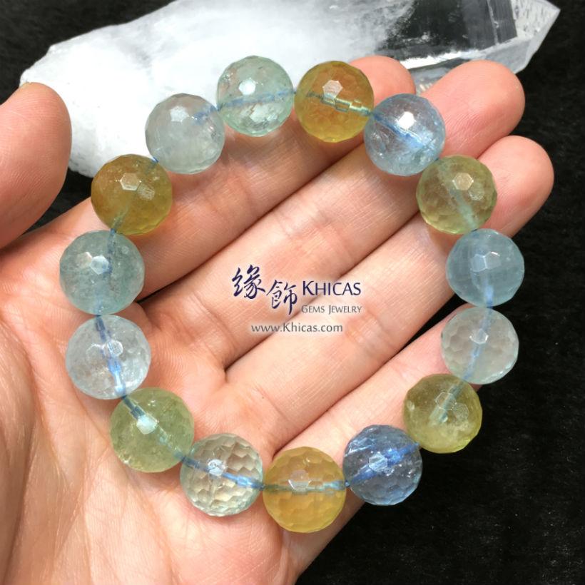 巴西 4A+ 海藍寶x金綠柱石切割面手串 13.5mm Aquamarine Beryl Bracelet KH143513 @ Khicas Gems Jewelry 緣飾天然水晶