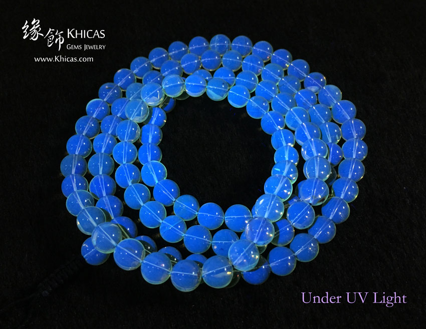 墨西哥藍珀 8mm+/- 108粒佛珠 Blue Amber Bracelet KH143563 by Khicas Gems 緣飾