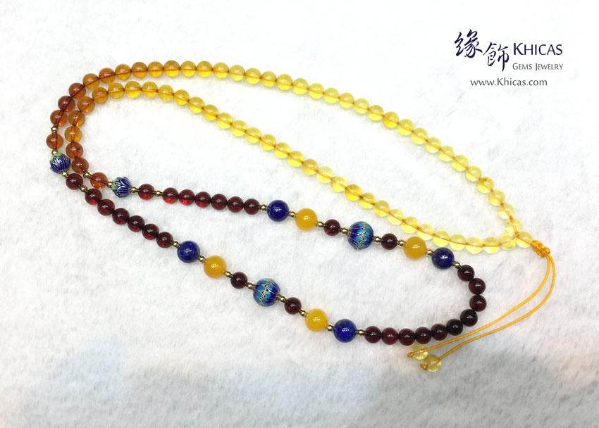 彩虹琥珀 6mm+/- 長頸鏈 / 項鍊 Amber Necklace KH143580 by Khicas Gems 緣飾