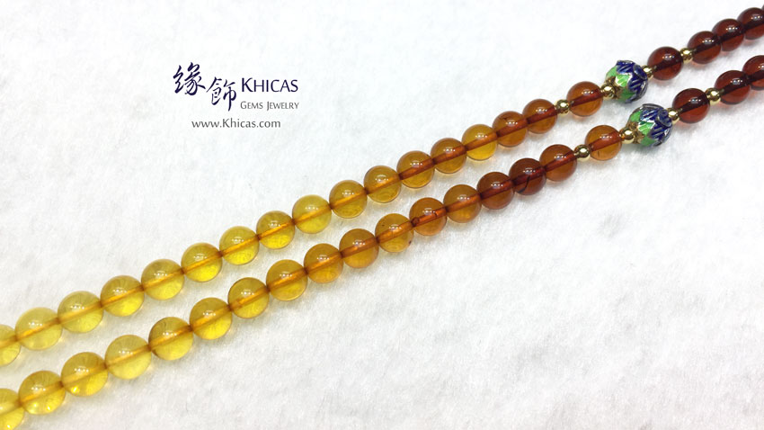 彩虹琥珀 6mm+/- 長頸鏈 / 項鍊 Amber Necklace KH143580 by Khicas Gems 緣飾