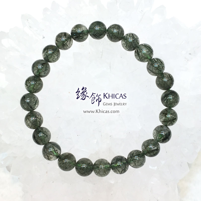 巴西 3A+ 綠髮晶手串 7.5mm Green Rutilated Quartz KH143609 Khicas Gems 緣飾