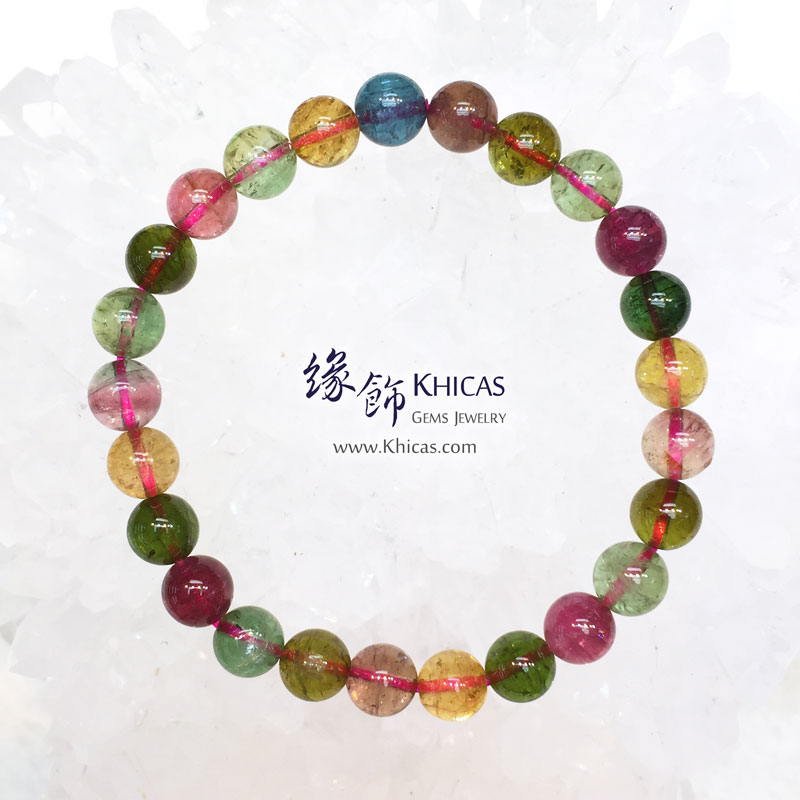 巴西 5A+ 玻璃種彩碧璽手串 7mm+/- Tourmaline KH143948 @ Khicas Gems 緣飾天然水晶