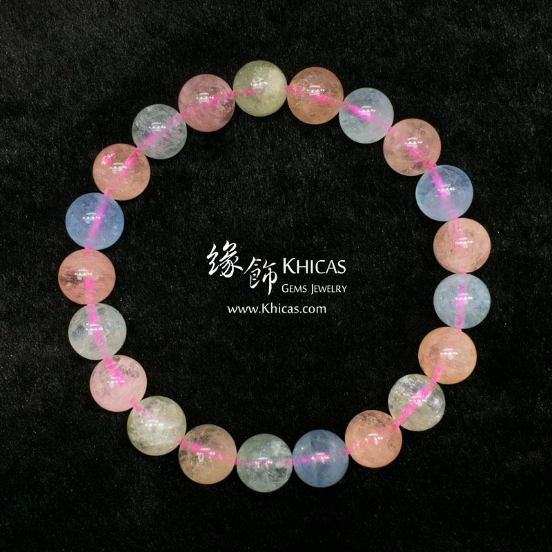 巴西 4A+ 彩色海藍寶手串 10mm Morganite KH143967 @ Khicas Gems 緣飾