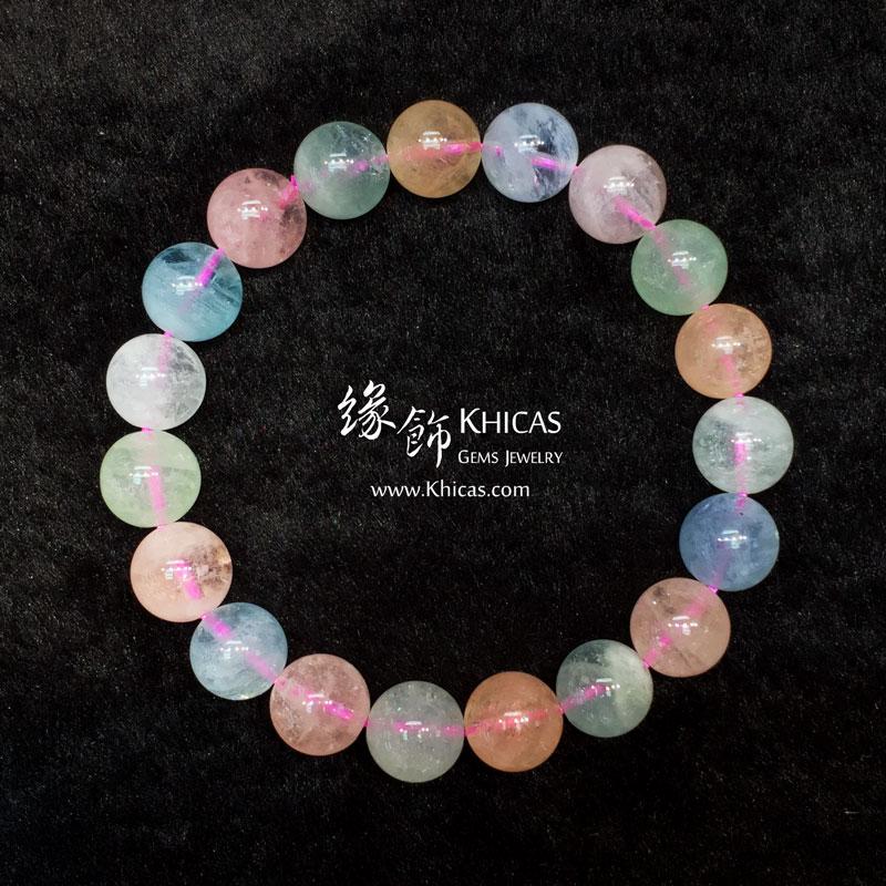 巴西4A+彩色海藍寶手串 10.5mm Morganite KH143968 @ Khicas Gems 緣飾