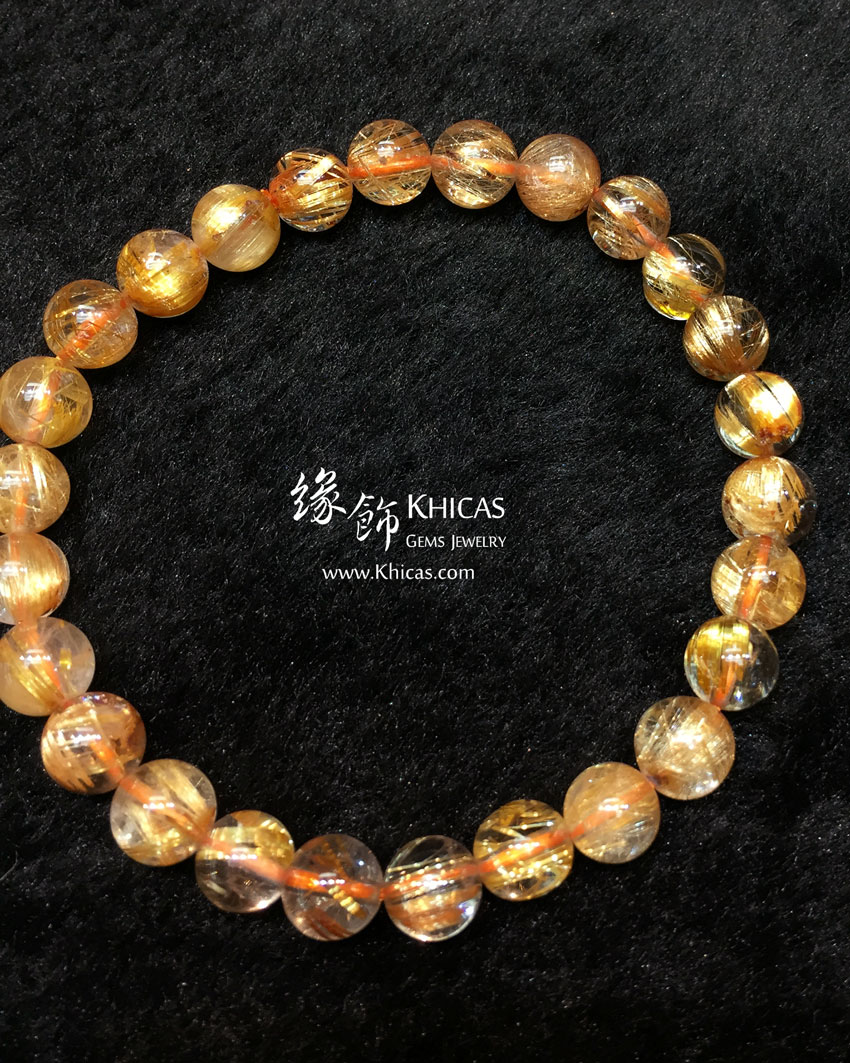 巴西 5A+ 金髮晶手串 7.5mm+/- Gold Rutilated KH144089 @ Khicas Gems 緣飾