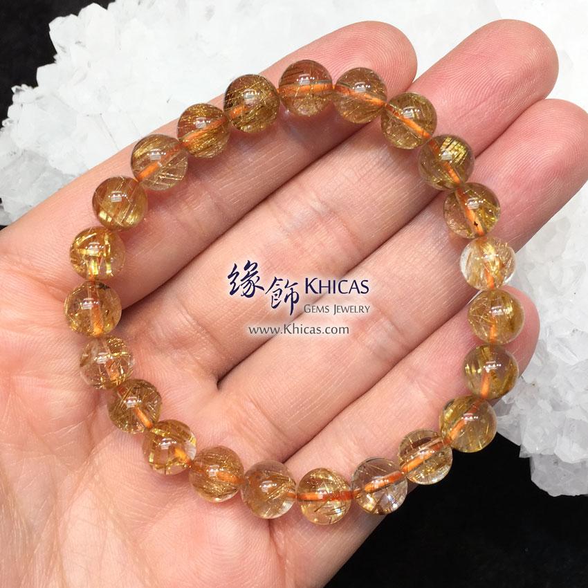 巴西 5A+ 金髮晶手串 8mm+/- Gold Rutilated KH144091 @ Khicas Gems 緣飾