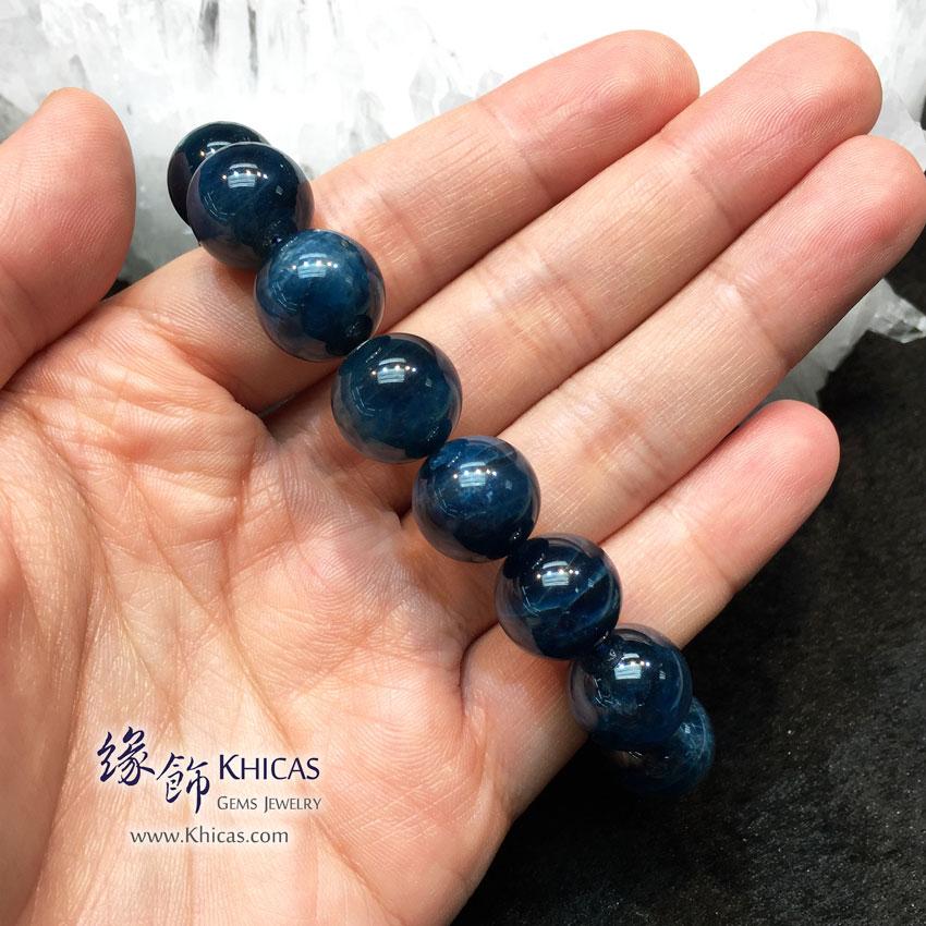 斯里蘭卡 5A+ 貓眼藍色磷灰石手串 13.5mm Cat Eye Apatite KH144178 Khicas Gems 緣飾