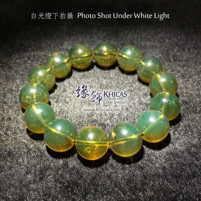 墨西哥藍珀手串 13mm+/- Blue Amber Bracelet KH144243 by Khicas Gems 緣飾