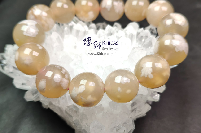 馬達加斯加 4A+ 櫻花瑪瑙手串 15.5mm Blossoms Agate Bracelet KH144329 @ Khicas Gems Jewelry 緣飾天然水晶
