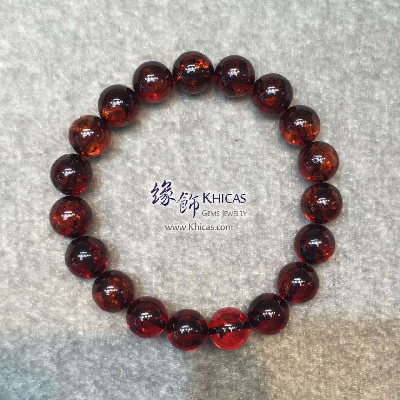 波羅的海血珀手串 10.5mm Baltic Sea Red Amber Bracelet KH144461A @ Khicas Gems Jewelry 緣飾天然水晶