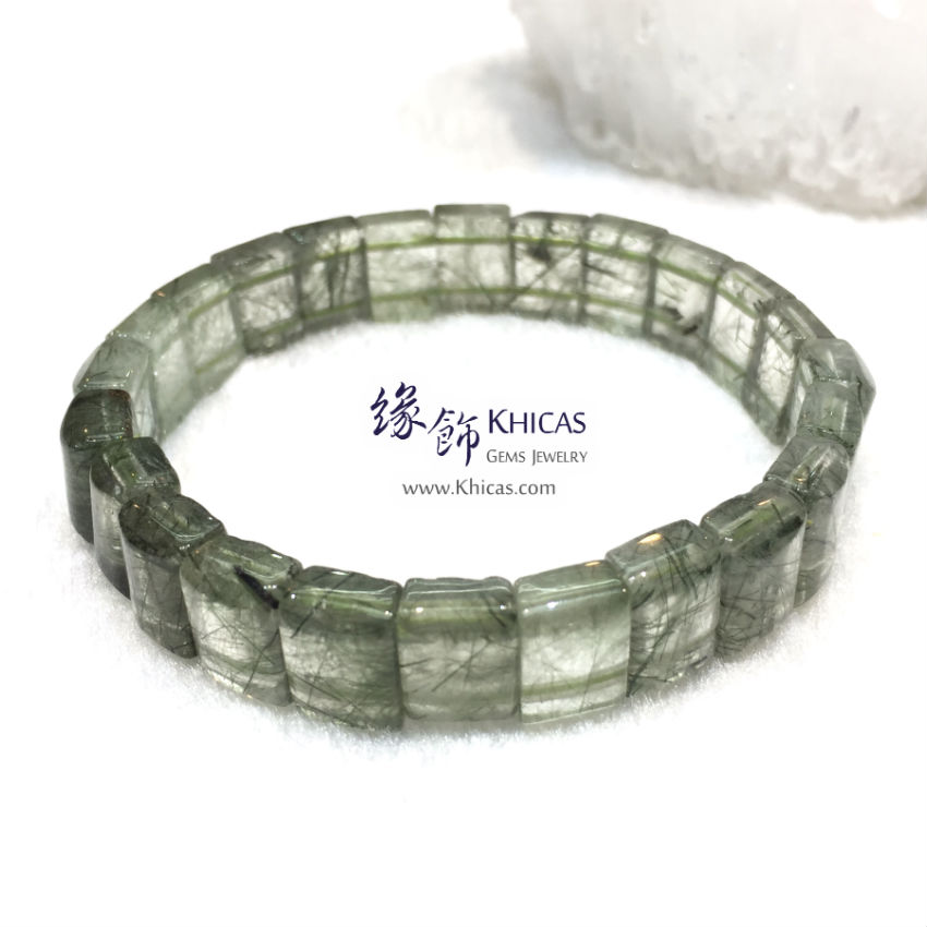 巴西 3A+ 綠髮晶手排 11mm+/- Green Rutilated Quartz KH144677-4 Khicas Gems 緣飾