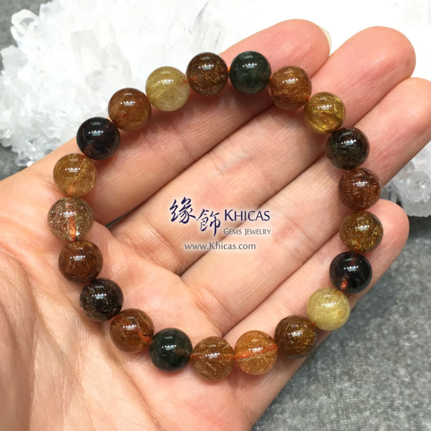 巴西 5A+ 多彩髮晶手串 9mm Multi-colour Rutilated Quartz KH144973 @ Khicas Gems 緣飾天然水晶