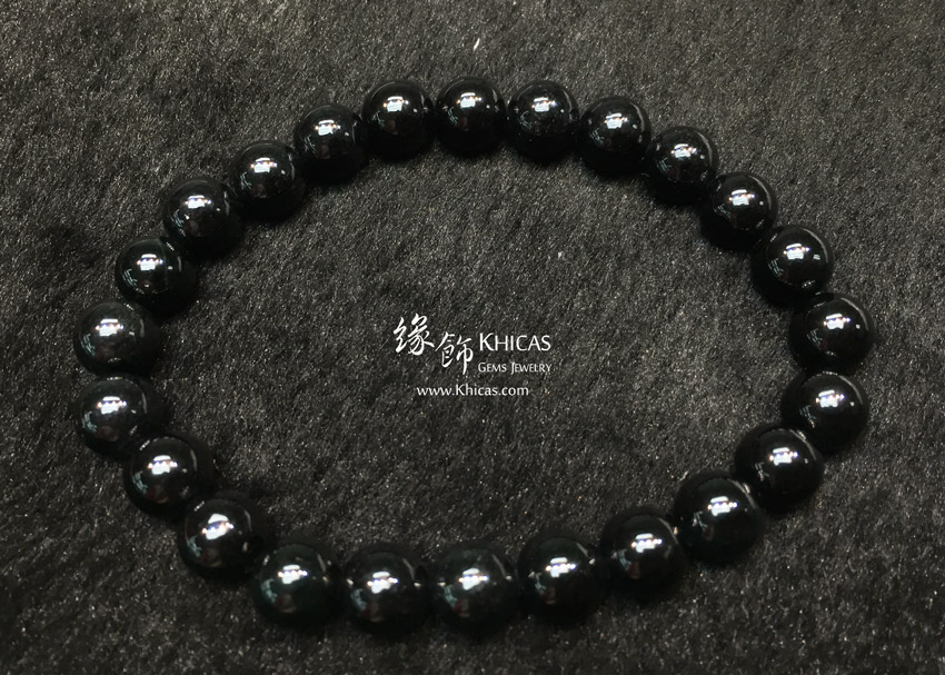 緬甸翡翠A玉墨翠圓珠手串 8mm+/- Jade Bracelet KH145103 @ Khicas Gems 緣飾天然水晶