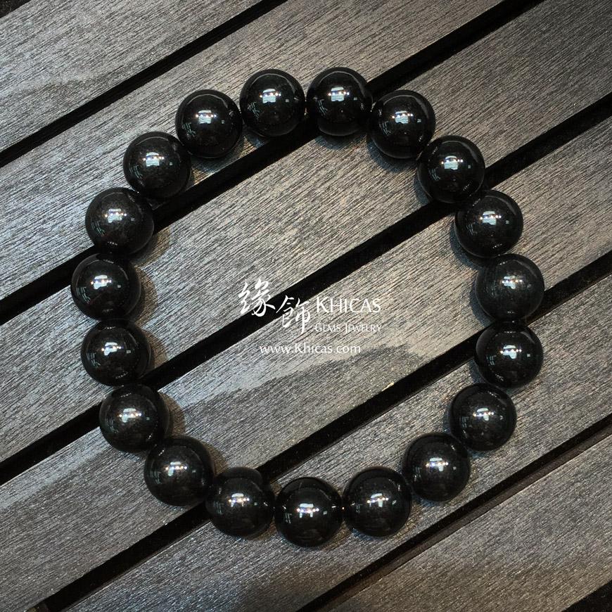 緬甸翡翠A玉墨翠圓珠手串 10mm+/- Jade Bracelet KH145104 @ Khicas Gems 緣飾天然水晶