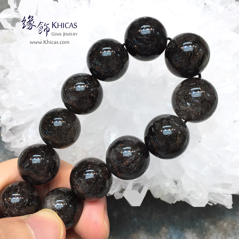 巴西 4A+ 黑銀髮晶手串 15.2mm Black Silver Rutilated Quartz KH145124 @ Khicas Gems Jewelry 緣飾天然水晶