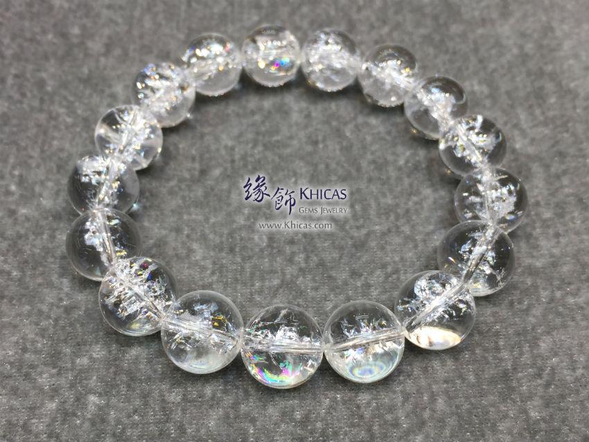 巴西 4A+ 彩虹白水晶手串 12mm+/- Rainbow White Quartz KH145193 @ Khicas Gems 緣飾