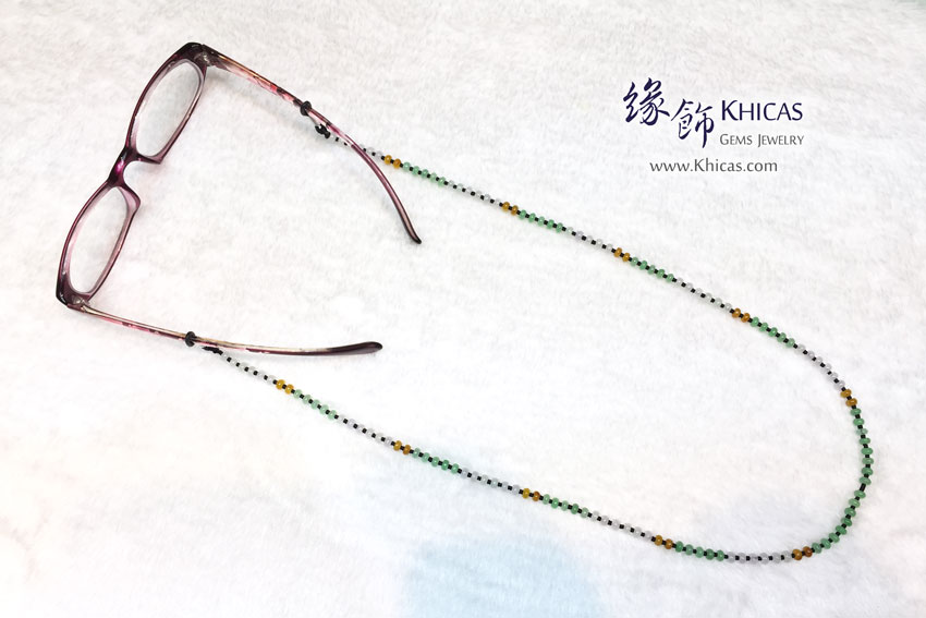 三彩翡翠A玉眼鏡繩 Jade Necklace cum Eyewear Retainer KH145389 @ Khicas Gems 緣飾天然水晶