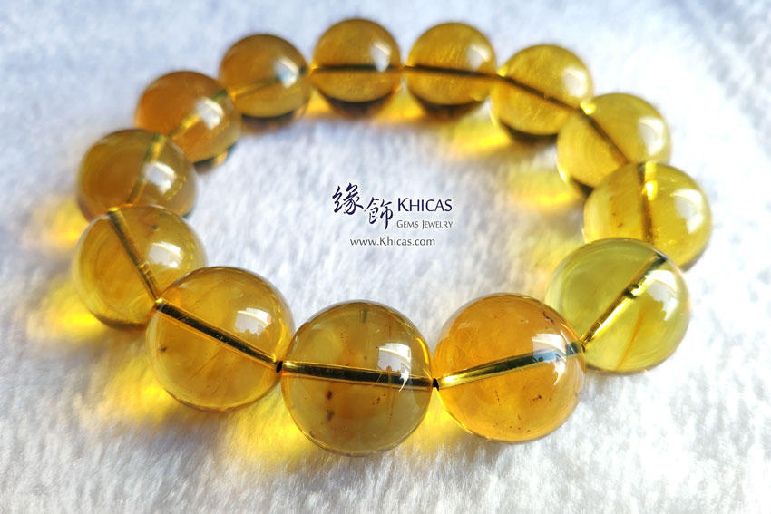 墨西哥藍珀手串 18.5mm+/- Blue Amber Bracelet KH145390 by Khicas Gems 緣飾天然水晶